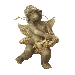 ANGEL RESINA NAVIDAD PEQUEÑO DORADO