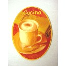 PLACA MADERA OVAL COCINA TAZA CAFE